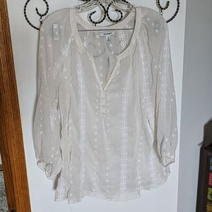 Bohemian Sheer Embroidered Top (XL)